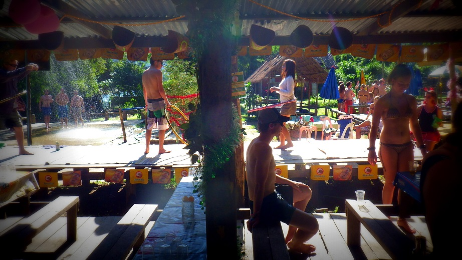 Activities inside the bar in Vang Vieng