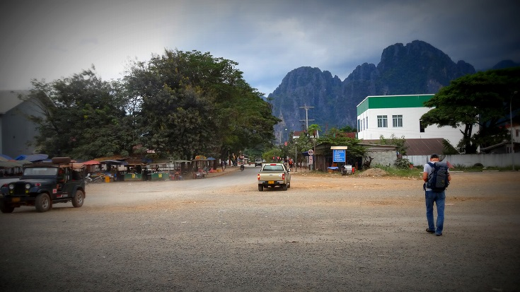 Bus Drop Point at Vang Vieng by Drifter Planet