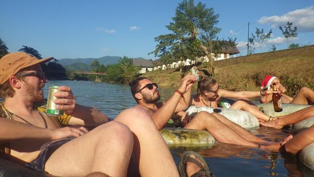 Drinking and Tubing in Vang Vieng, Laos