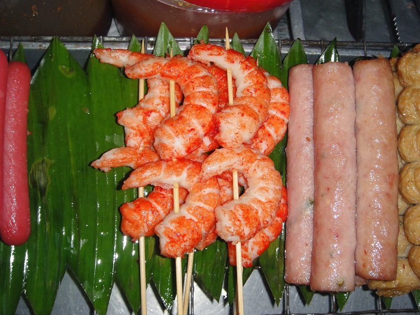 Shrimps on sticks at Siam Street, Bangkok
