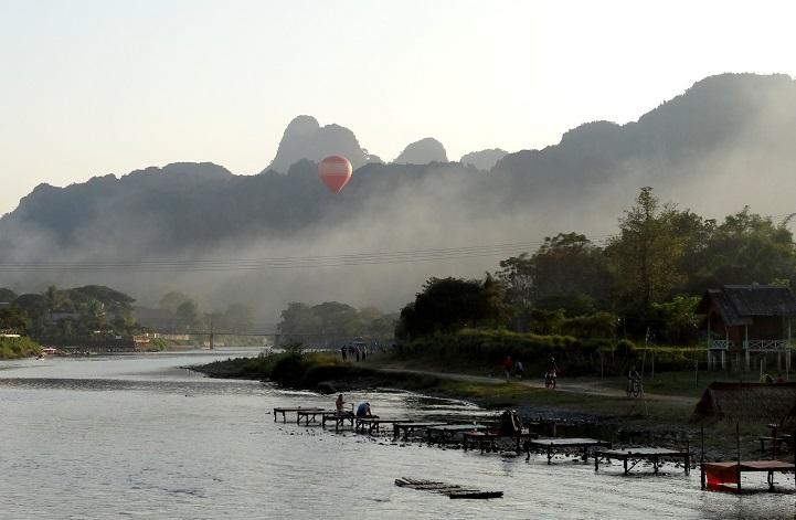 The small bridge to Banana Bunglows in Vang Vieng, Laos
