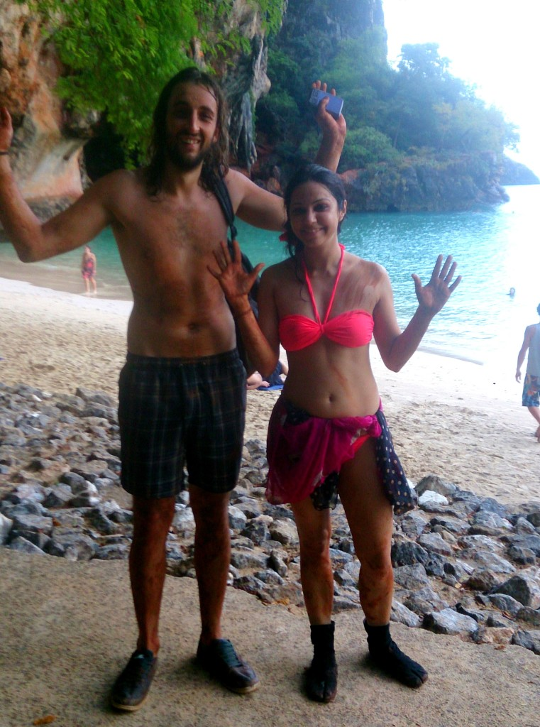 San and I covered in mud after climbing in the rain. Location - Phra Nang Cave Beach in Railay.