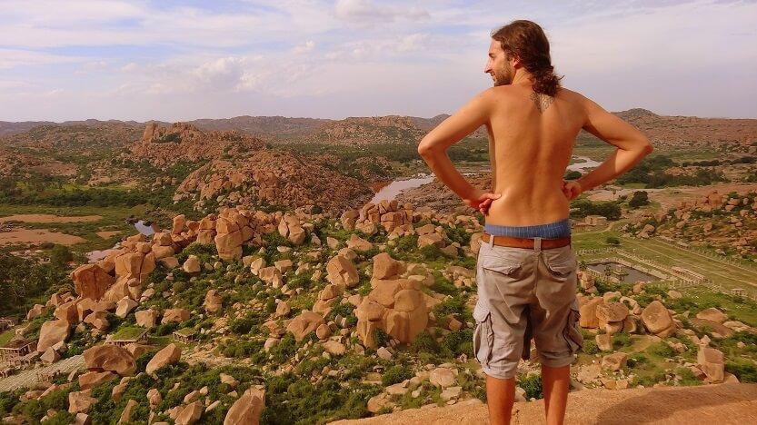 Matanga Hill Viewpoint - San admiring the view