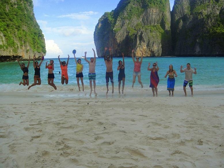 Customary Jump Shot on Empty Maya Bay