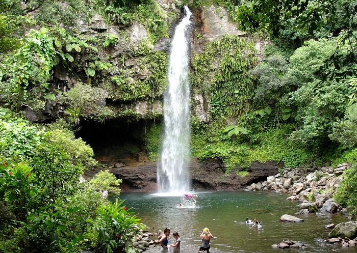 Tavoro Waterfalls, in Bouma National Heritage Park, Taveuni Island (Fiji)