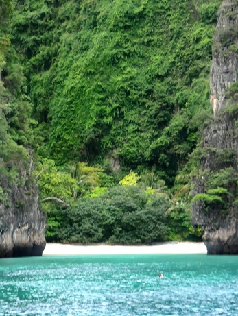On our way to the magical Maya Beach, we stopped here to snorkel around.