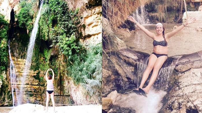 Waterfall on Wadi David Hike in Ein Gedi (Isreal)