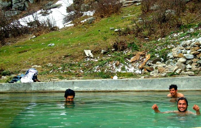 Natural Pool of Kheerganga heated by Hot Springs.