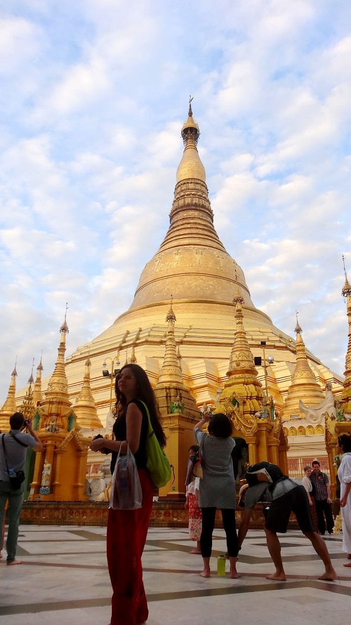 Myanmar Travel Tips - Me carrying my shoes in a pag at Shwedagon Pagoda