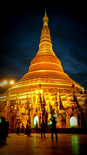 Golden Shwedagon Pagoda at Night - Things to do in Yangon by DrifterPlanet.Com