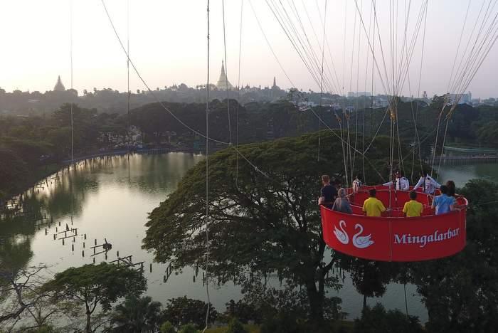 Hot air balloon ride in Yangon - Shwedagon Pagoda