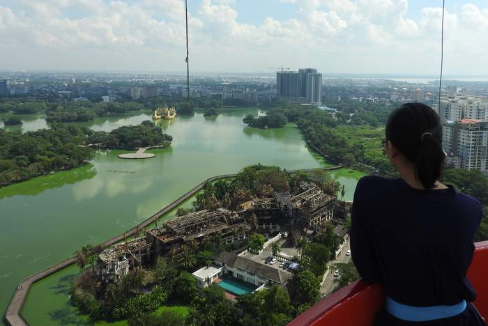 Kandawgyi Lake view - Hot air balloon ride in Yangon