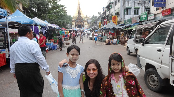 Outside Shwedagon Pagoda