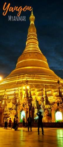 Shwedagon Pagoda at night - Yangon long pin