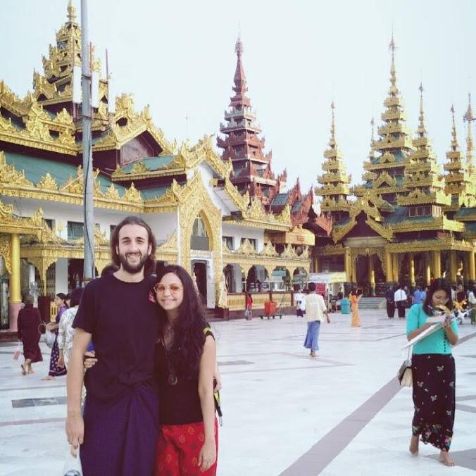 Sonal and Sandro at Shwedagon Pagoda, Myanmar