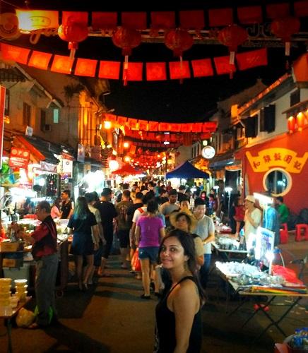 Jonker Street of Melaka at Night