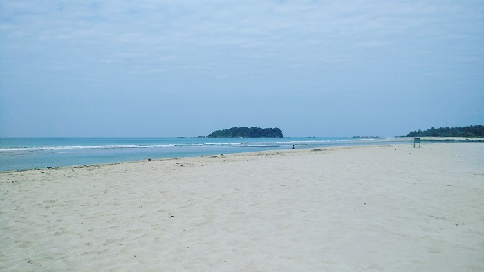 Ngwe Saung Beach with Lovers Island in the distance