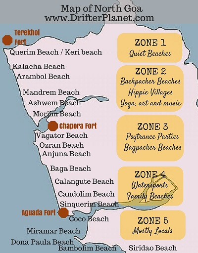 North Goa Beaches Map by Drifter Planet travel blog