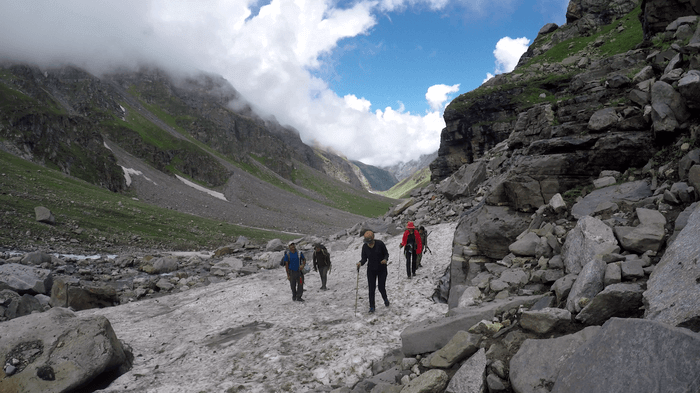Hampta Pass Trek Day 3 - Crossing Glaciers