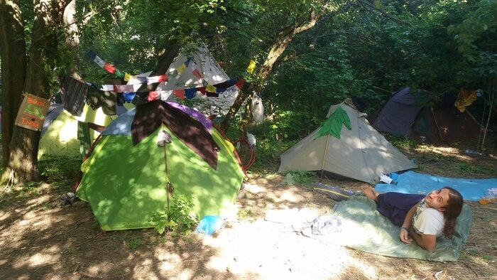 Our Shady Camping Spot at SUN Festival 2016 in Hungary