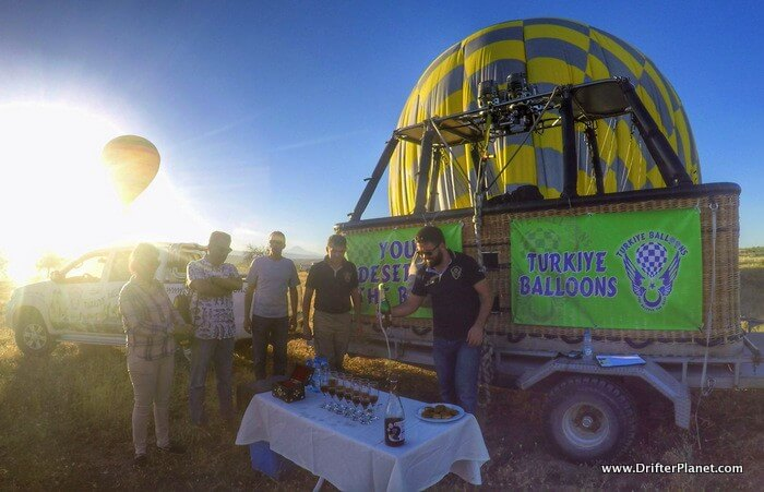 Champagne ceremony - Hot Air Balloon Ride in Cappadocia, Turkey