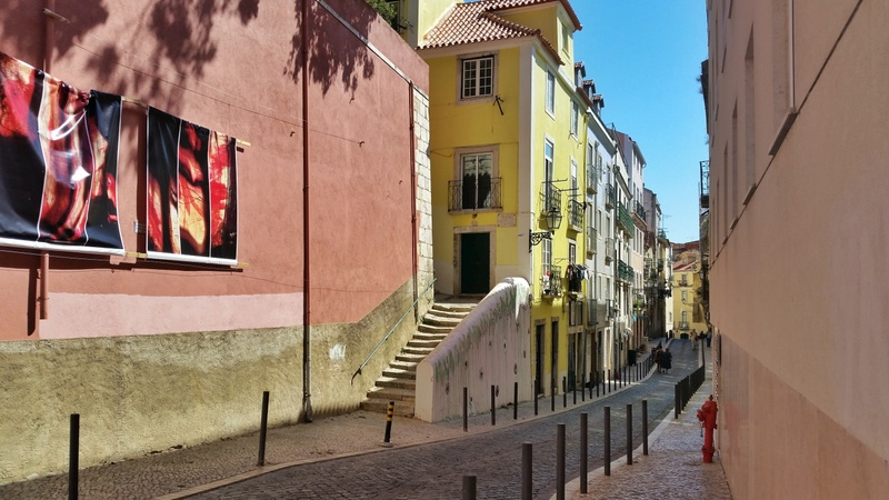 A beautiful street Old town Alfama in Lisbon - falling in love with Lisbon, Portugal