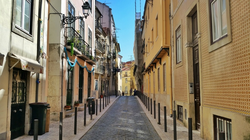 One of the many pretty streets in Lisbon - falling in love with Lisbon, Portugal