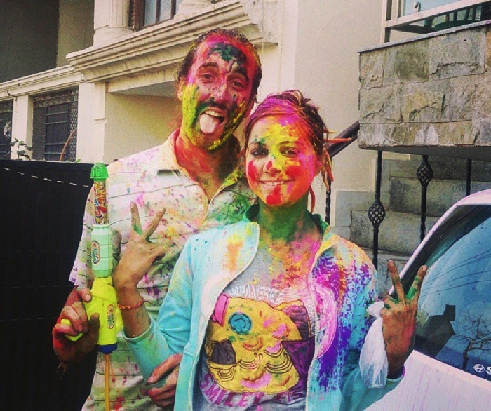 San and I celebrating Holi in India