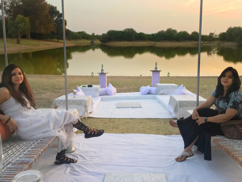Deepti and I enjoying our sunset drinks in Bikaner