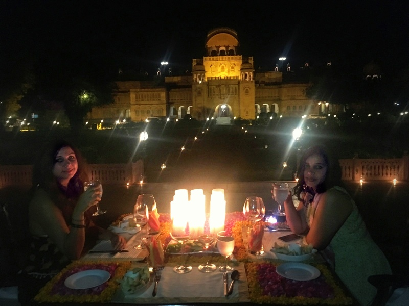 Deepti and I enjoying our Royal dinner at Laxmi Niwas Palace, Bikaner