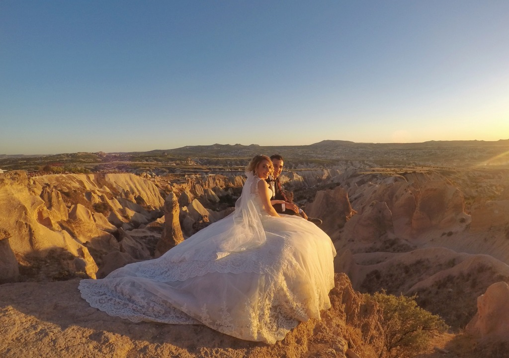 Just Married - Bride and groom in Red Valley, Cappadocia, Turkey
