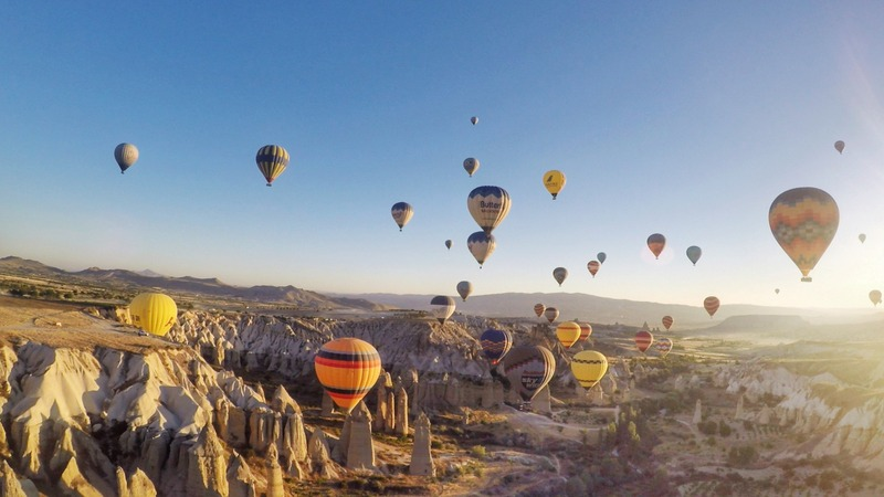 Bird's eye view of Cappadocia during my hot air balloon ride