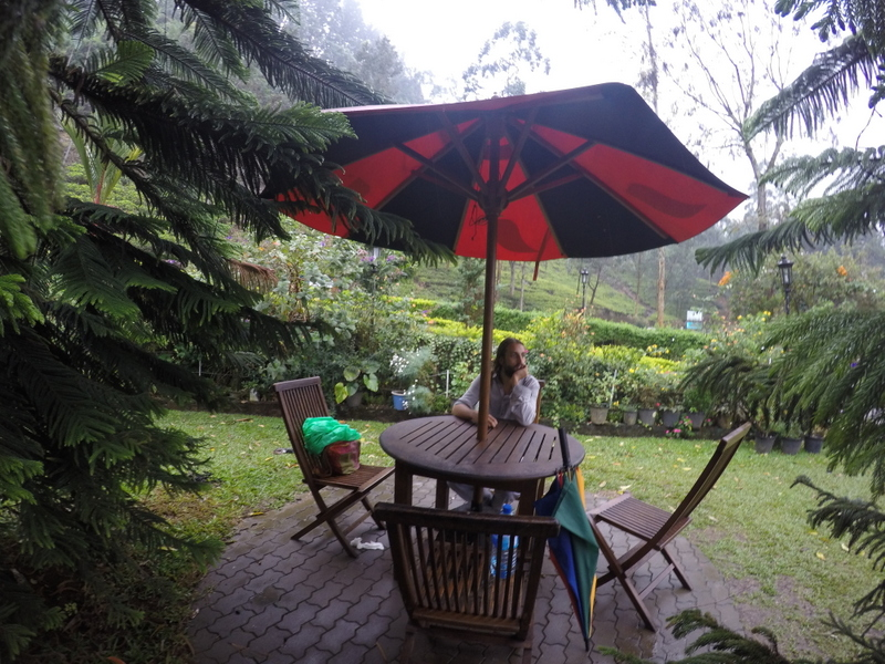 San enjoying the view after our tea factory tour in Nuwara Eliya - Sri Lanka Itinerary