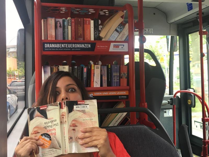The buses in Hamburg have bookshelves full of books