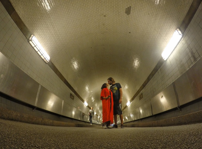 San and I inside Elbtunnel - things to do in Hamburg, Germany