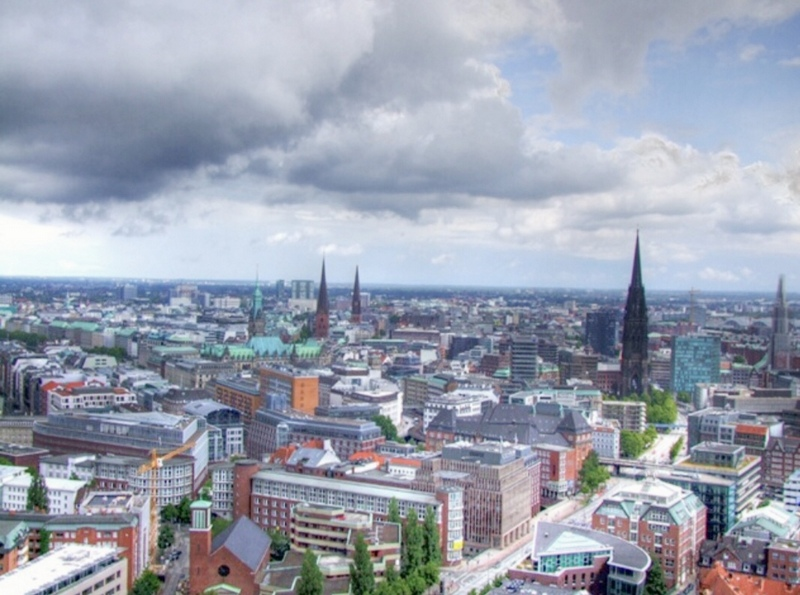 View from the observation deck of St. Michael's Church, Hamburg, Germany