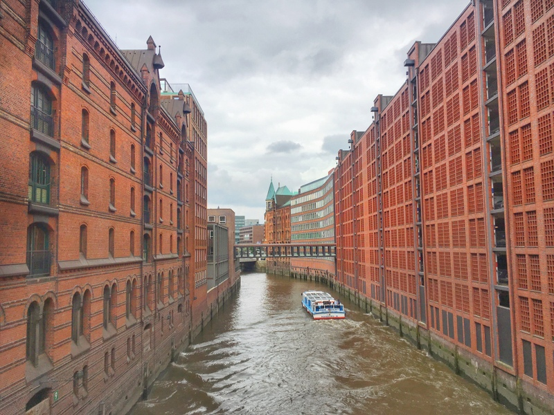 Speicherstadt in Hamburg - warehouse district - canals and red buildings