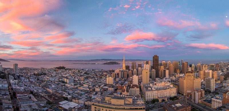 San Fransisco Drone shot - Skyline at Sunset - Panorama