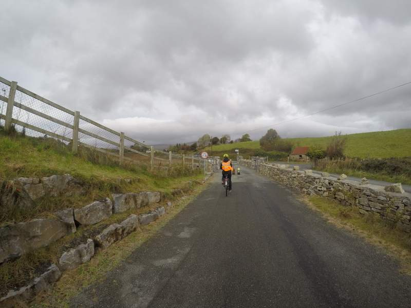 Cycling on the Great Western Greenway trail from Westport, County Mayo, Ireland