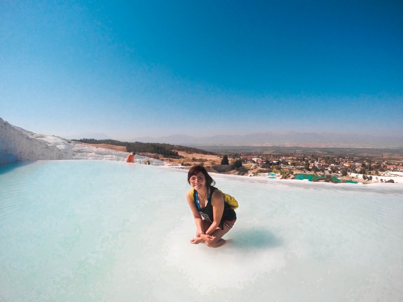 Trying to bathe in Pamukkale's Thermal Pools without taking off my clothes