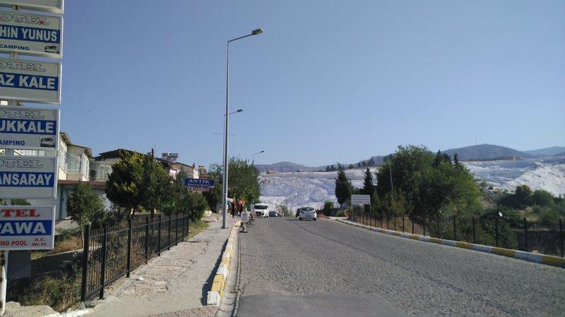 Right outside my hotel - Ozbay Hotel in Pamukkale, Turkey