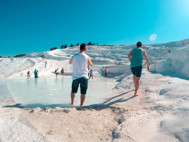 Mid Day Crowd in Pamukkale Thermal Pools, Turkey