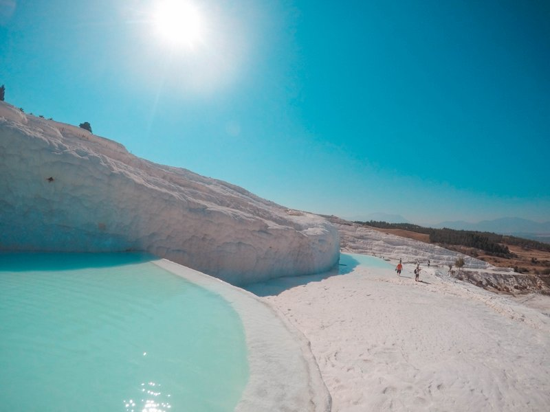 White Travertine Thermal Pools with Blue Water - Pamukkale, Turkey