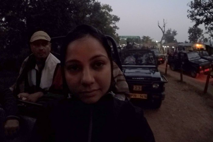 My Early Morning Face when I saw the queue at Kanha National Park Entry Gate
