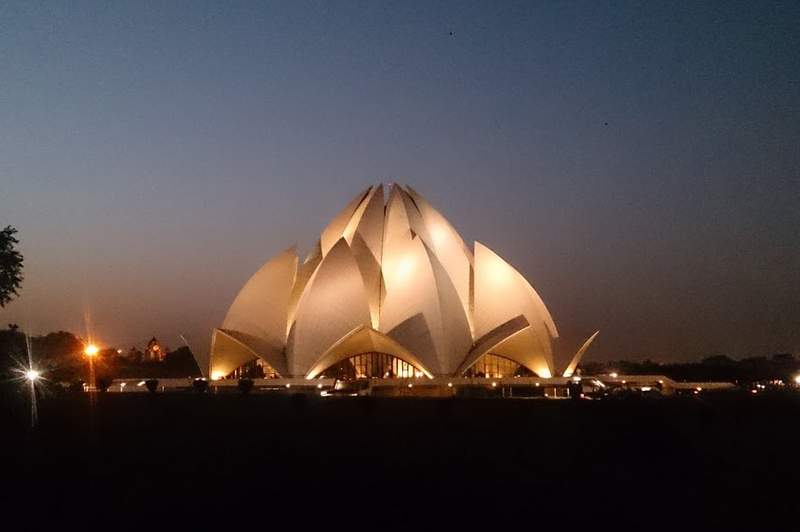 Lotus Temple - Bahai House of Worship at night - Places to visit in Delhi