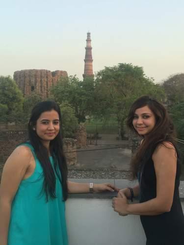 Overlooking Qutub Minar from En Restaurant in Mehrauli, Delhi
