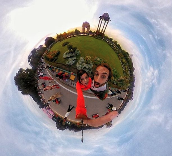 San and I next to India Gate - Tiny Planet perspective - Places to see in Delhi