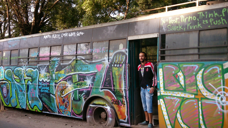 A hand painted bus in Shah Pur Jaat, Delhi