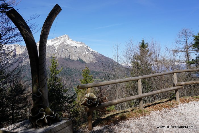 Subtle art installations on Il Respiro Degli Alberi hiking trail in Alpe Cimbra, Trentino, Italy