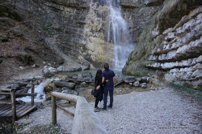 One of the bigger waterfalls on Rosspach Valley hiking trail in Alpe Cimbra, Trentino, Italy